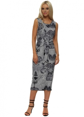 Lizzie Grey White Luxe Luxe Tie Dress