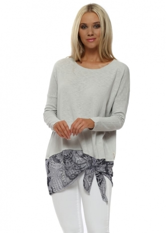 Lily Grey White Luxe Luxe Asymmetric Slub Knit Top