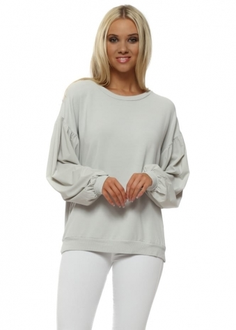 Connie Grey White Silky Puffball Sleeves Sweater