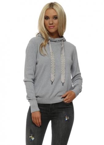 Grey Pearl Drawstring Hooded Fine Knit Jumper