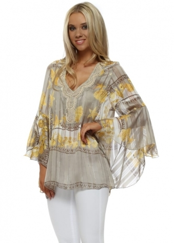 Mocha & Gold Starfish Beaded Kaftan Top