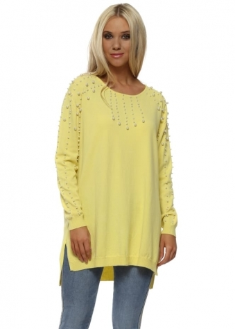 Lemonade Pearl Embellished Relaxed Jumper