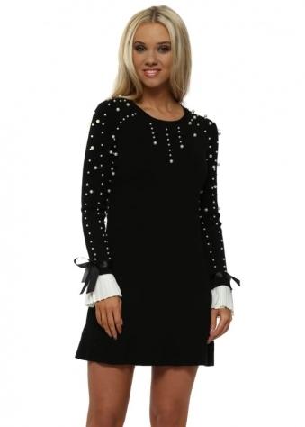 Black Pearl Pleated Cuffs Frill Hem Jumper Dress