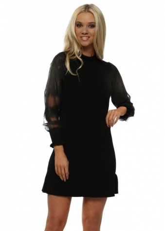 Black Ruffle Neck Tulle Lace Sleeves Jumper Dress