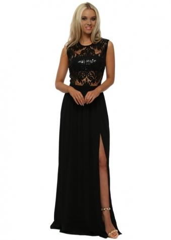Stephanie Pratt Brocade Print Lace Top Maxi Dress With Split