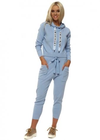 Blue Embellished Drawstring Hoodie Lounge Suit