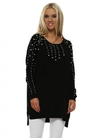 Black Pearl Embellished Relaxed Jumper