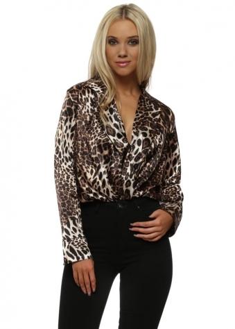 Satin Silk Leopard Print BodySuit