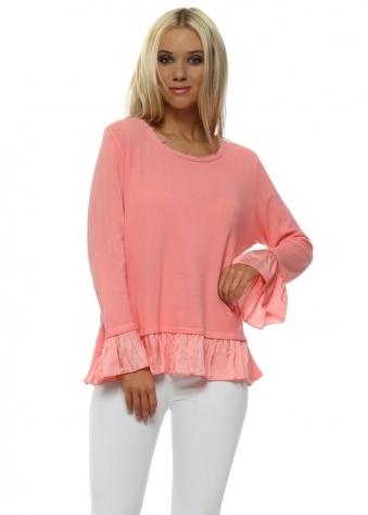 Coral Pink Fine Cotton Knit Frill Jumper