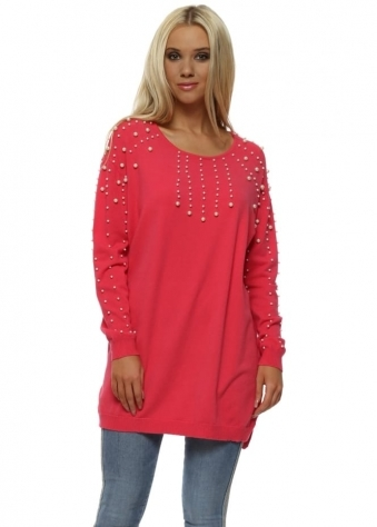 Strawberry Pink Pearl Embellished Relaxed Jumper