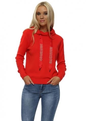 Red Pearl & Stud Drawstring Hooded Fine Knit Jumper