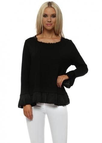 Black Fine Cotton Knit Frill Jumper