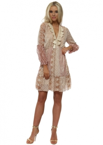 Rose Pink Lace Mini Dress With Tassels