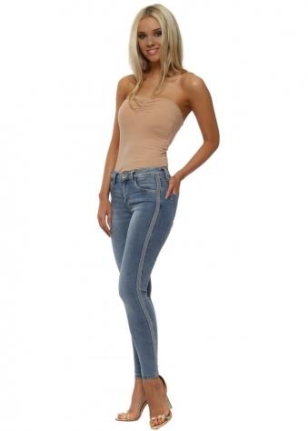 Blue Skinny Stud Side Stripe Jeans