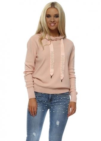Pink Pearl & Stud Drawstring Hooded Fine Knit Jumper