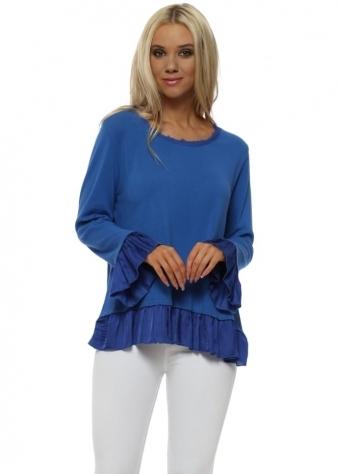 Royal Blue Cotton Fine Knit Frill Jumper