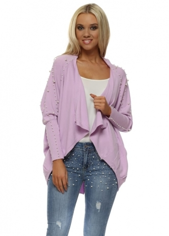 Lilac Pearl Embellished Cocoon Cardigan