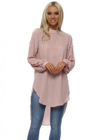 Blush Pink Pearl Embellished Longline Blouse Top