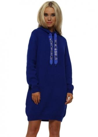 Cobalt Bejewelled Drawstring Hooded Jumper Dress