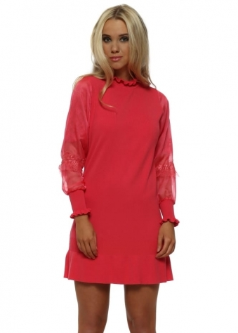 Strawberry Pink Ruffle Neck Tulle Lace Sleeves Jumper Dress