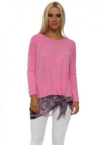 Lily Pinkest Luxe Luxe Asymmetric Slub Knit Top