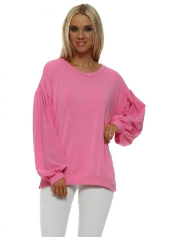 Connie Pinkest Silky Puffball Sleeves Sweater