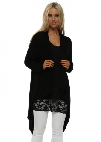 Fable Black Waterfall Cardigan