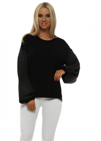 Connie Black Silky Puffball Sleeves Sweater