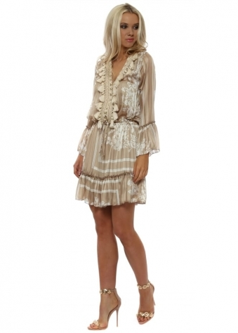 Mocha Silky Printed Mini Tassel Dress
