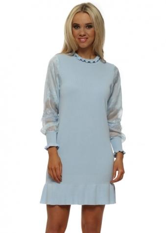 Blue Ruffle Neck Lace Sleeves Jumper Dress