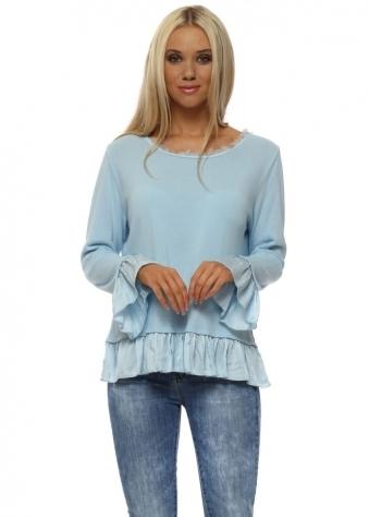 Baby Blue Cotton Knit Frill Jumper