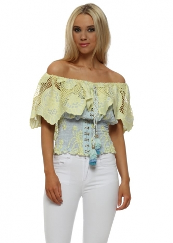 Yellow & Blue Lace Bardot Top