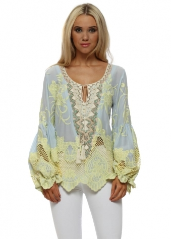 Yellow & Blue Crochet Lace Beaded Tunic Top