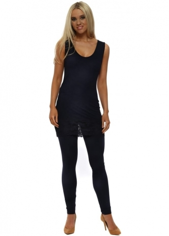 Anita Navy Blue Jersey Leggings