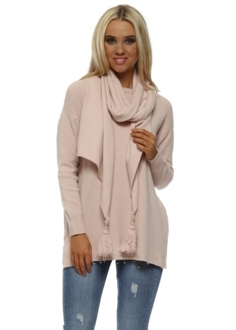 Nude Pink Button Side Jumper With Pearl Tassel Scarf