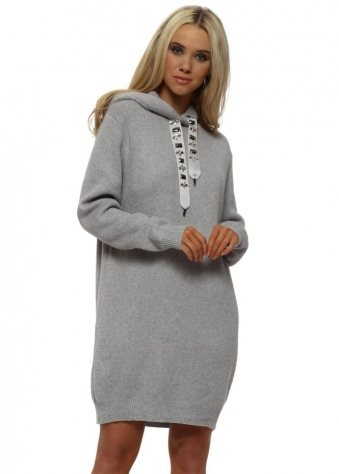 Grey Bejewelled Drawstring Hooded Jumper Dress