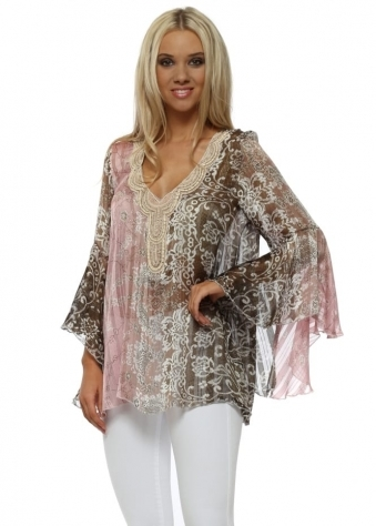 Mocha & Pink Beaded Kaftan Top