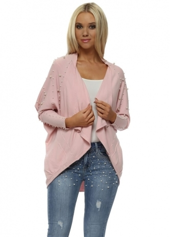 Pink Pearl Embellished Cocoon Cardigan