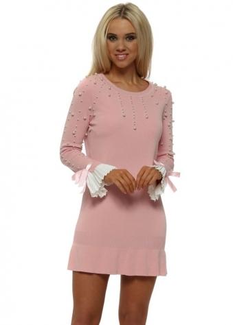 Pink Pearl Pleated Cuffs Frill Hem Jumper Dress