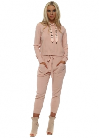 Baby Pink Embellished Drawstring Hoodie Lounge Suit