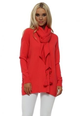 Coral Button Side Jumper With Pearl Tassel Scarf