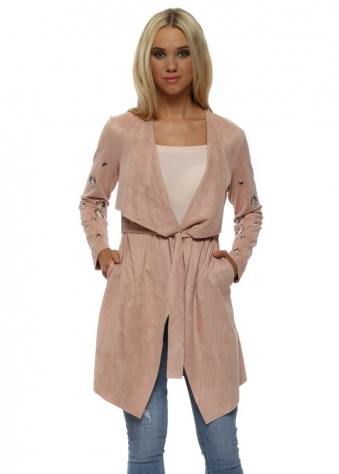 Pink Blush Suedette Silver Circle Waterfall Jacket