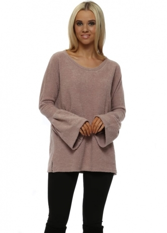 Chloe Coodle Knit Bell Sleeve Jumper In Tawny