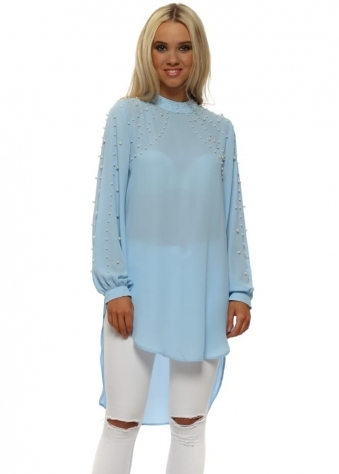 Baby Blue Pearl Embellished Longline Blouse Top