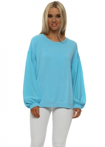 Connie Sky Silky Puffball Sleeves Sweater
