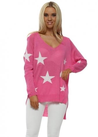 Hot Pink White Stars Fine Slub Knit Jumper