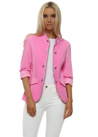 Candy Pink Ribbed Casual Jacket
