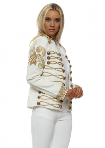 EXCLUSIVE Ivory Gold Embellished Military Trophy Jacket