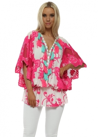 White & Fucshia Crochet Embellished Kaftan Top