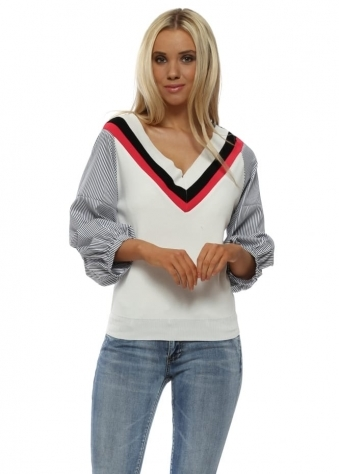 Ivory Pinstripe Ruched Sleeve Jumper